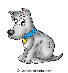 Cute grey dog - color illustration.