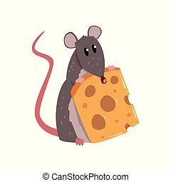 Cute grey mouse holding piece of cheese, funny rodent character vector Illustration on a white background