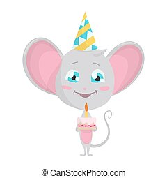 Cute grey mouse in a fun conical hat with a cake. Vector Stock Illustrations isolated Emoji character cartoon mouse stickers emoticon with emotion, situation and pose.