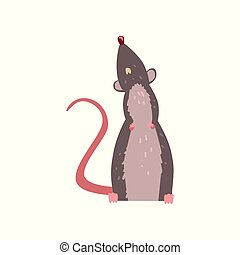 Cute grey mouse looking up, funny rodent character vector Illustration on a white background