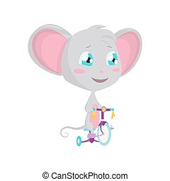 Cute grey mouse rides a bicycle. Vector Stock Illustrations isolated Emoji character cartoon mouse stickers emoticon with emotion, situation and pose.