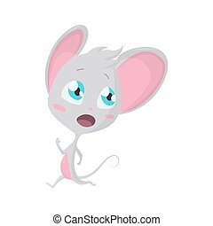 Cute grey mouse run. Vector Stock Illustrations isolated Emoji character cartoon mouse stickers emoticon with emotion, situation and pose.