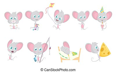 Cute grey mouse set. Mouses eats, fishing, run, sleeping, rides a bicycle, kite, with a big slice of cheese, in a fun conical hat with a cake. Cartoon mouse in situations and poses.