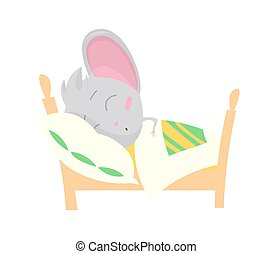 Cute grey mouse sleeping. Vector Stock Illustrations isolated Emoji character cartoon mouse stickers emoticon with emotion, situation and pose.