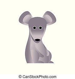 Cute grey mouse, stylized geometric animal low poly design vector Illustration