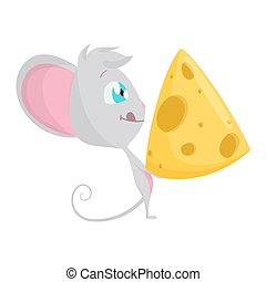 Cute grey mouse with a big slice of cheese. Vector Stock Illustrations isolated Emoji character cartoon mouse stickers emoticon with emotion, situation and pose.