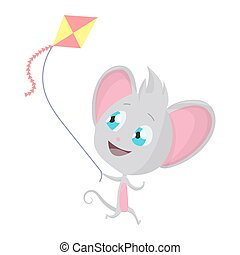 Cute grey mouse with a kite. Vector Stock Illustrations isolated Emoji character cartoon mouse stickers emoticon with emotion, situation and pose.