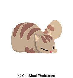 Cute grey striped cat, funny pet character, furry human friend vector Illustration