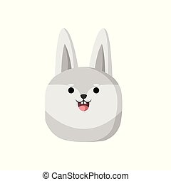 Cute Grey Wolf Animal Head Illustration