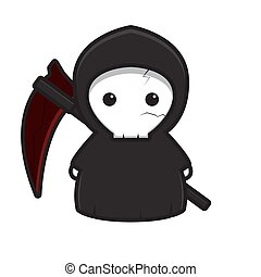 Cute grim reaper mascot character with red scythe vector cartoon icon illustration