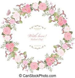cute, grinalda floral, com, encantador, rosas, para, seu, desenho