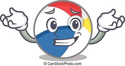 cute Grinning beach ball mascot cartoon style