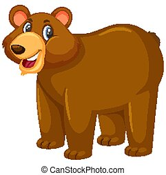 Cute grizzly bear on white background