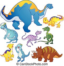 Cute group Dinosaurs vector many actions