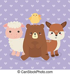 cute group of animals farm characters