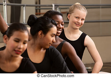 Cute Group of Ballet Students - Smiling young ballet student...