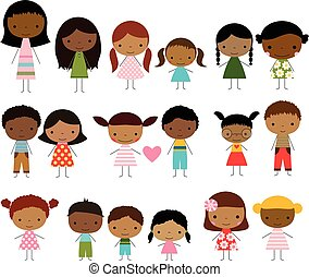 Cute group of stick figures kids - boys and girls with dark skin