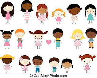Cute group of stick figures kids - boys and girls with different skin tones