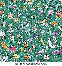 cute, grunge, ilustração, mão, doodles, desenhado, caricatura