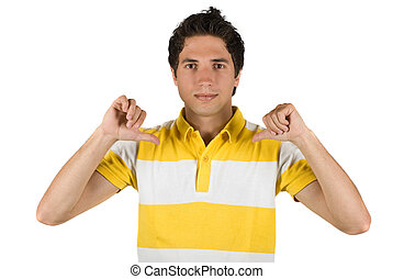 Cute guy pointing to his t-shirt