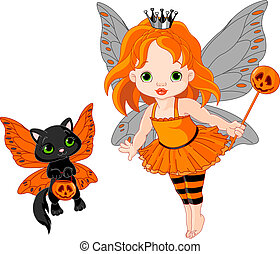 Cute Halloween baby fairy and cat - Illustration of...