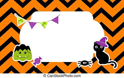 Cute Halloween background with stickers. Vector