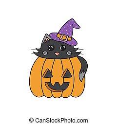 cute halloween cat in pumpkin