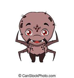 cute, halloween, edderkop, illustration