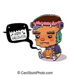 Cute Halloween Frankenstein