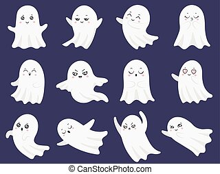 Cute halloween ghosts. Frightened funny ghost, curious spook...