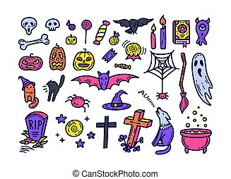 Cute halloween icons set in doodle style.