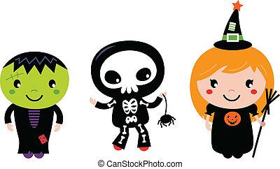 Happy Kids in Halloween costumes. Vector cartoon Illustration