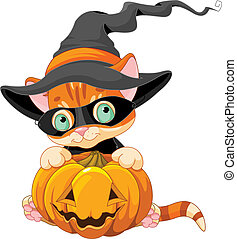 Halloween red tabby kitten with pumpkin