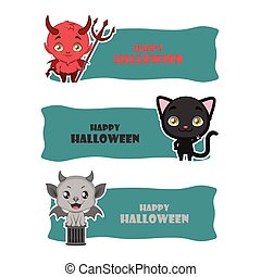 Cute Halloween monster banners - devil, black cat, gargoyle