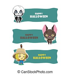Cute Halloween monster banners - skeleton, bat, scarecrow
