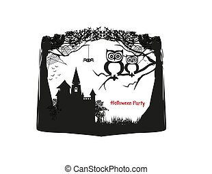 Cute Halloween owls - black and white frame