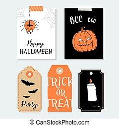 Cute Halloween party cards, invitations. Paper gift tags. Pumpkin, spider, bat.  Hand drawn vector illustration backgrounds.