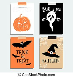 Cute Halloween party cards, invitations. Pumpkin, ghost, bat, witch hat.  Hand drawn vector illustration backgrounds