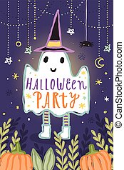 Cute Halloween party illustration.