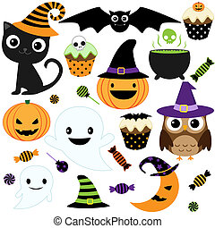 Cute Halloween Party - Set of cute vector Halloween...