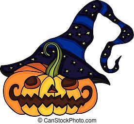 Cute halloween pumpkin with witch hat