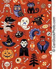 Cute Halloween seamless pattern with cartoon characters