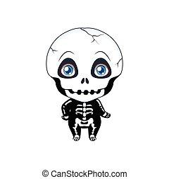 cute, halloween, skelet, illustration