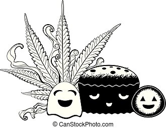 Cute Halloween vegetables and brownie - Happy roasted...