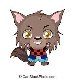 Cute Halloween werewolf illustration