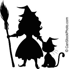Cute Halloween witch and cat silhouette