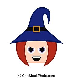 Cute halloween witch cartoon character