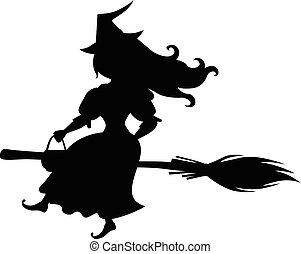 Cute Halloween witch silhouette