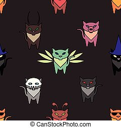 Cute Hallowen cats on the brown background