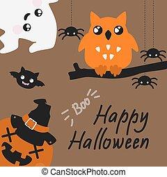 cute, haloween, cartão, com, spyders, fantasma, e, coruja